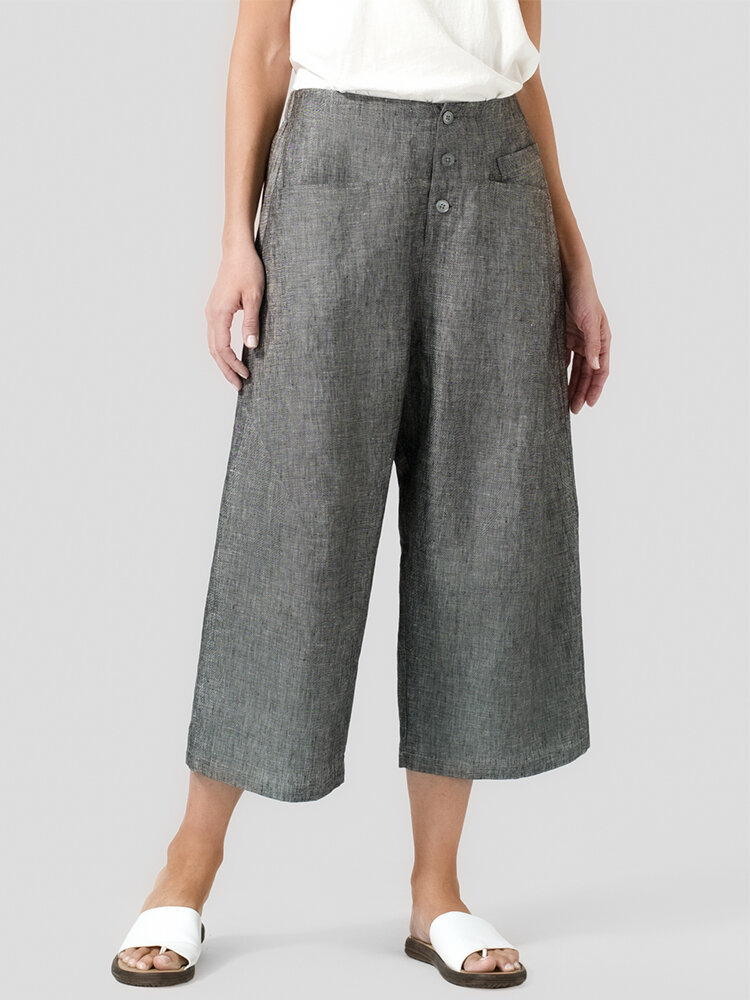Wide Leg Button Loose Solid Color Casual Pants For Women