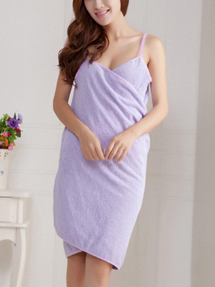 Women Summer Beach Soft Sexy  Bath Towel Wear Deep V Spa BathRobe Skirt