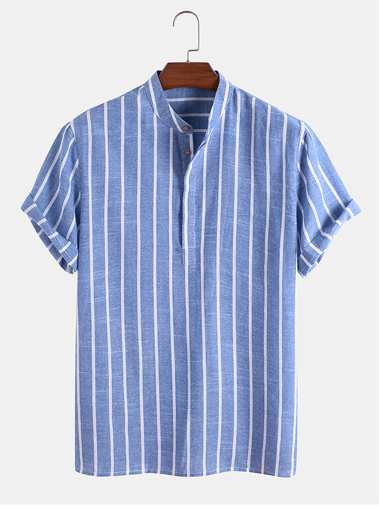 メンズストライプ半袖ハーフボタンコットンカジュアルヘンリーシャツ