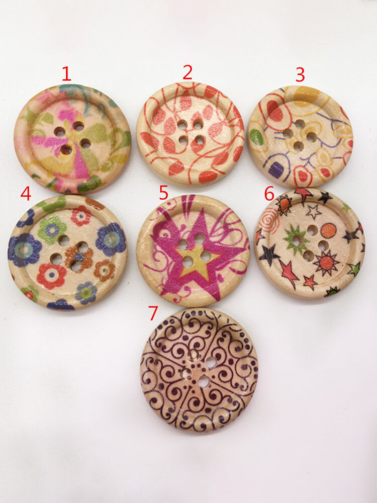 100Pcs 25mm Wooden Round Painted Buttons Knitting Sewing DIY Materials