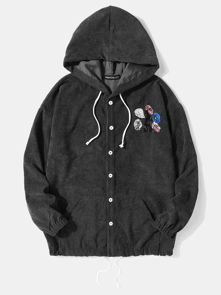 Newchic coupon: Embroidery Corduroy Hooded Shirt