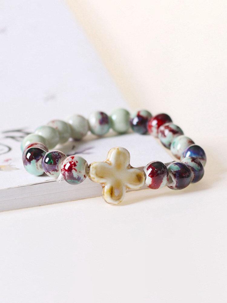 Ceramic Alloy Vintage Jewelry Cross Beaded Bracelet