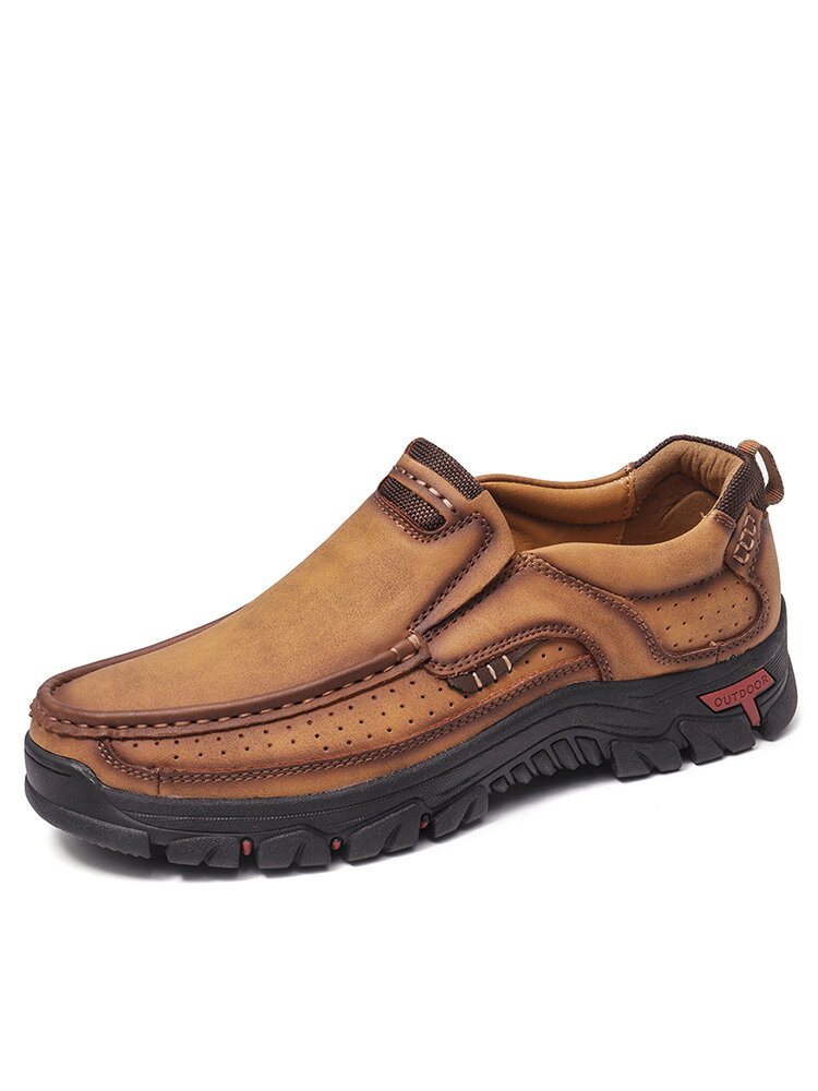 Men Non Slip Wear Resistant Slip On Outdoor Casual Leather Shoes