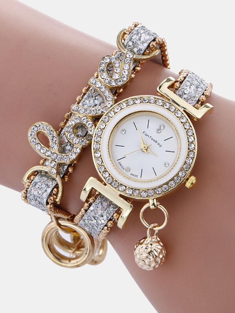 Montre-bracelet à quartz de mode en alliage d'or strass amour deux couches petites montres de cloche pour les femmes