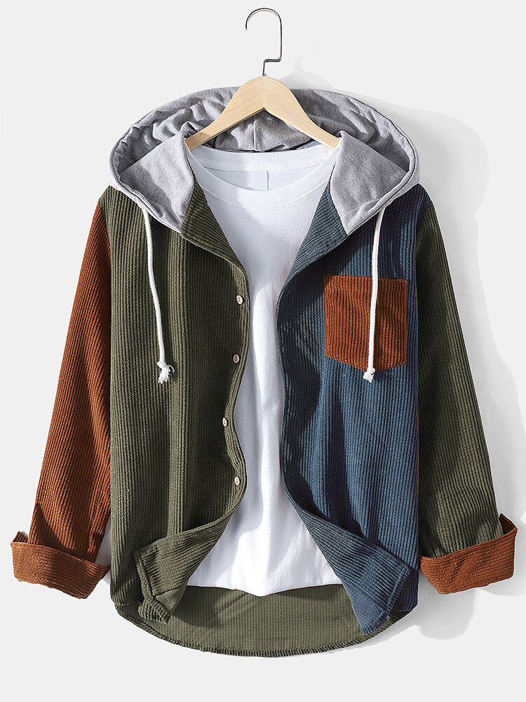 Mens Contrast Color Patchwork Corduroy Button Hoodie Shirt With Pocket