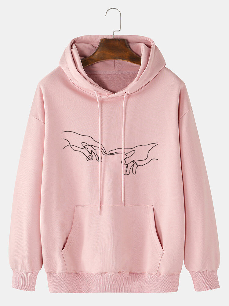 Mens Hand Graphic Print Solid 100% Cotton Casual Pullover Hoodie