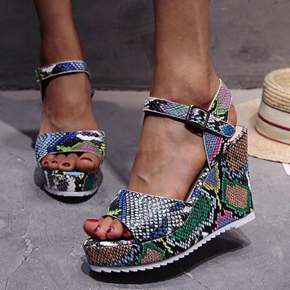 Women Casual Serpentine Open Toe Buckle Strap Wedges Sandals