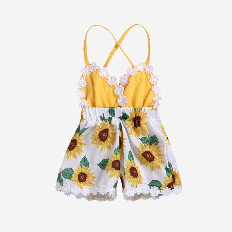 Baby Sunflower Print Lace Spliced Slip Rompers Jumpsuit For 0-24M