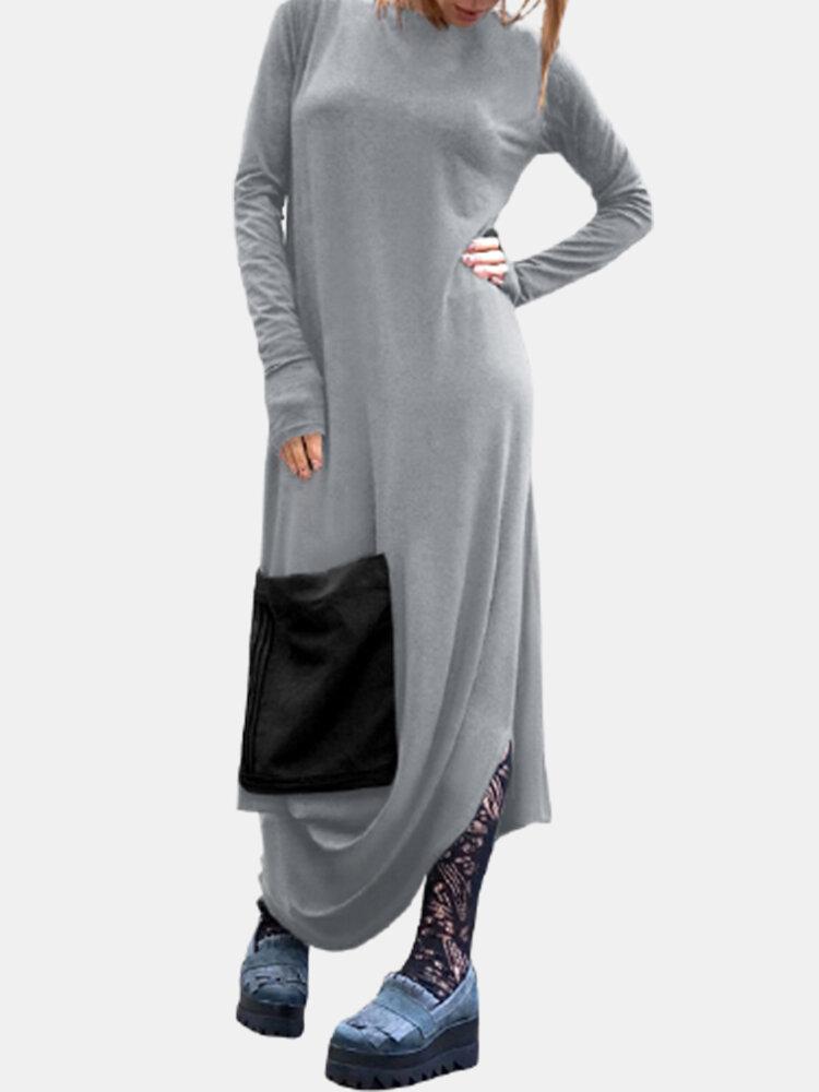 Casual Solid Color Pockets Side Slit Long Sleeve Dress