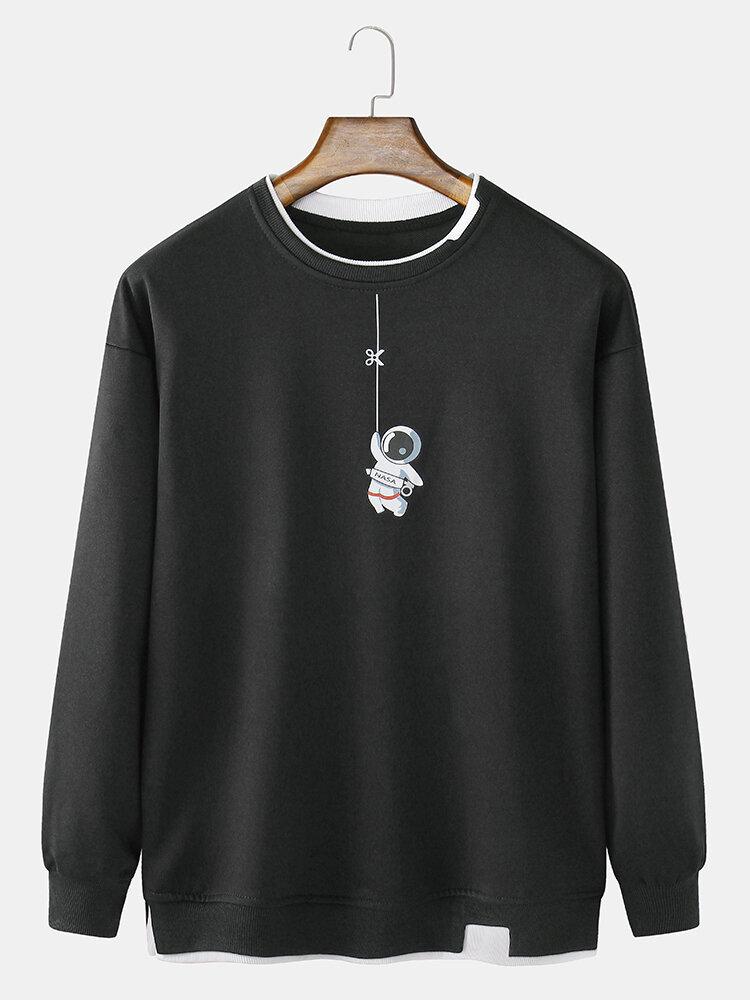 メンズ宇宙飛行士チェストプリントコットンフェイクツインセットクルーネックルーススウェットシャツ
