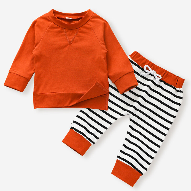 Baby Striped Print Long Sleeves Casual Clothing Set For 6-24M