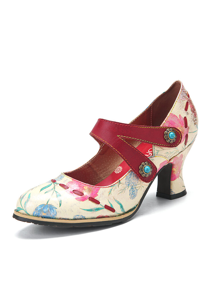SOCOFY Fresh Floral Printed Leather Comfy Wearable Ankle Strap Bifurcated Hook Loop Chunky Heel Women Mary Jane Pumps