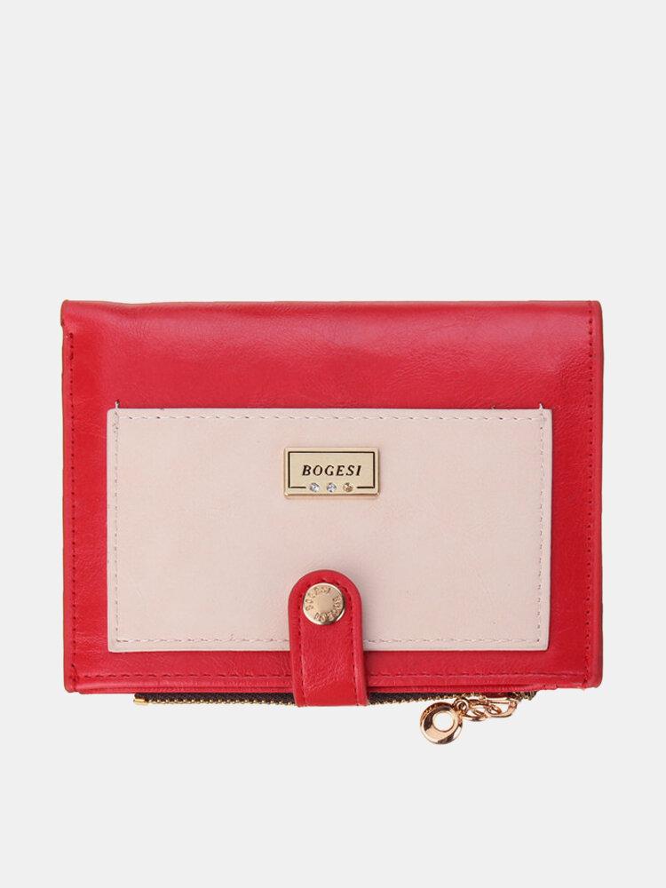 Women Candy Color Hasp Card Holder Short Wallet