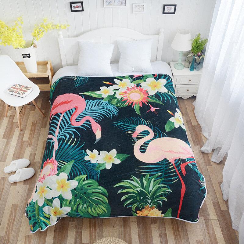Super Soft Quilt Cozy Velvet Plush Throw Blanket Flamingos Modern Line Art Blanket Sofa Bed Cover