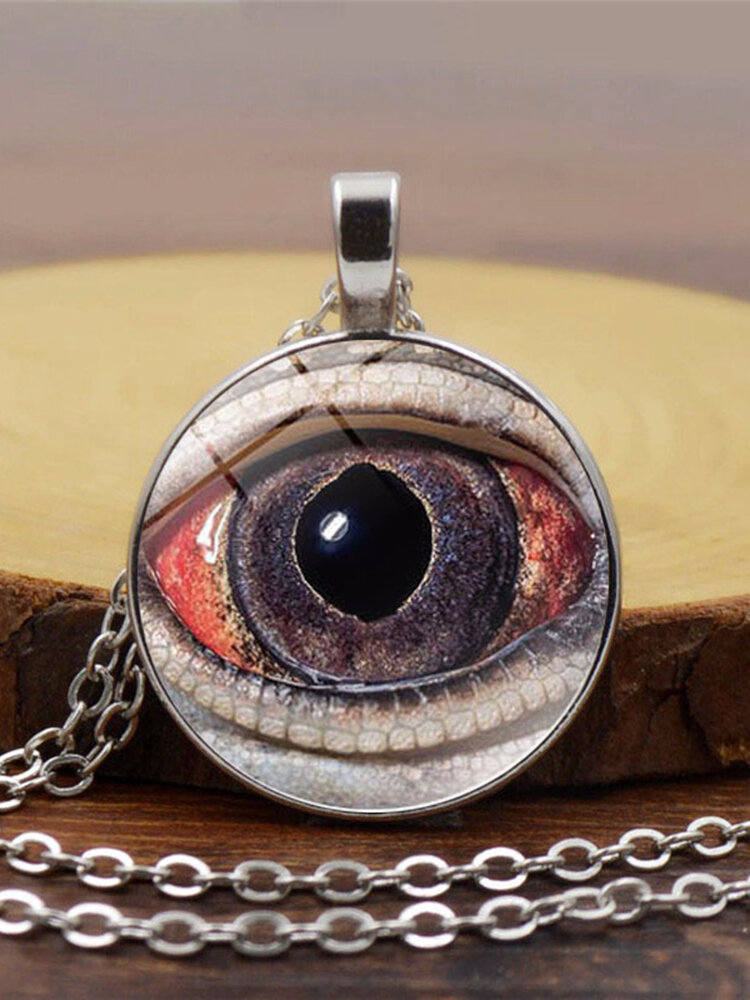 Vintage Alloy Glass Printed Women Necklaces Crocodile Eyes Pendant Sweater Chain