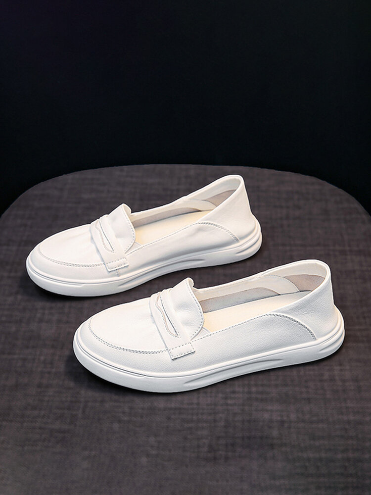 Casual Buckle Design Elastic Slip-On Comfy Soft Women's Loafers Shoes