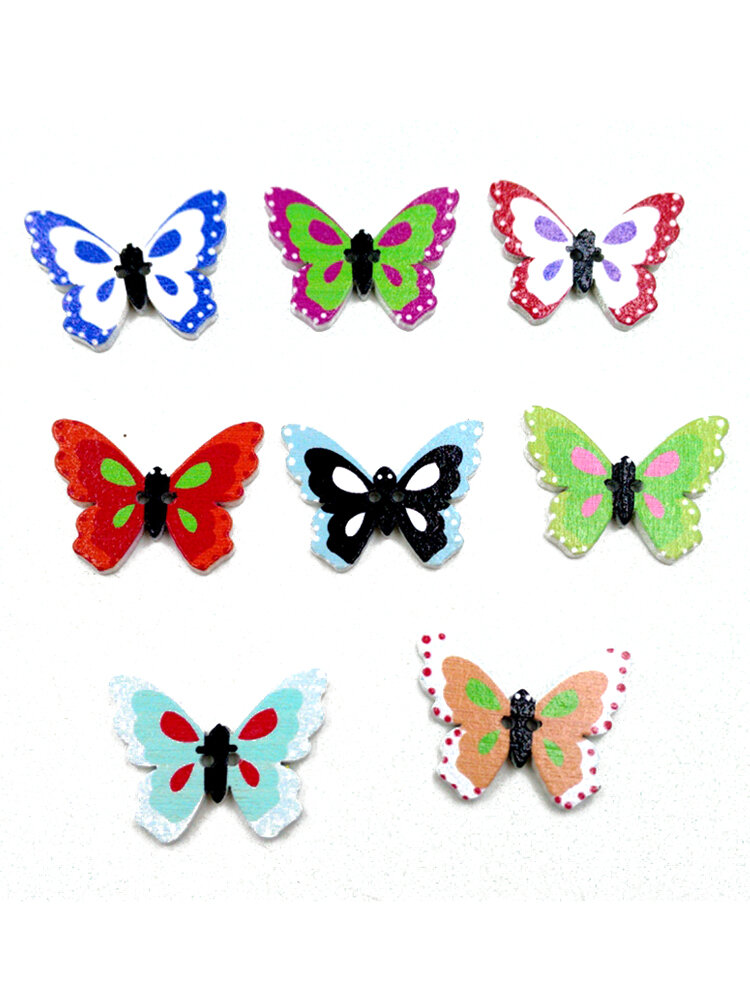 100 Pcs Colorful Butterfly Shaped Cartoon Wooden Sewing Buttons Handmade Craft DIY Materials