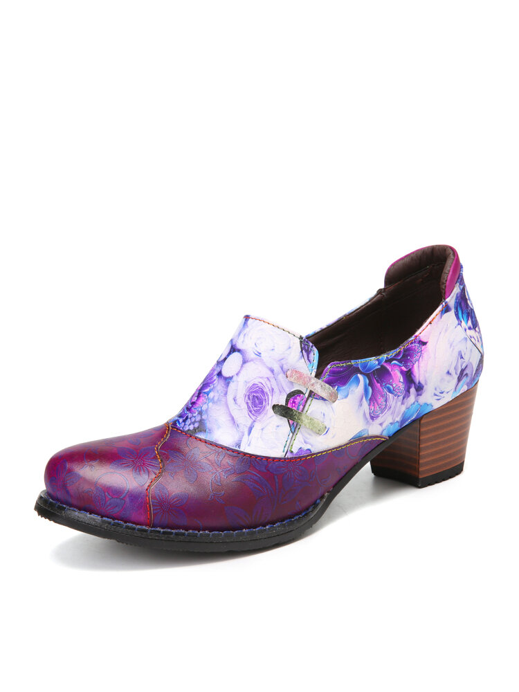 SOCOFY Elegant Flowers Pattern Cowhide Leather Comfy Round Toe Side Zipper Chunky Heel Shoes