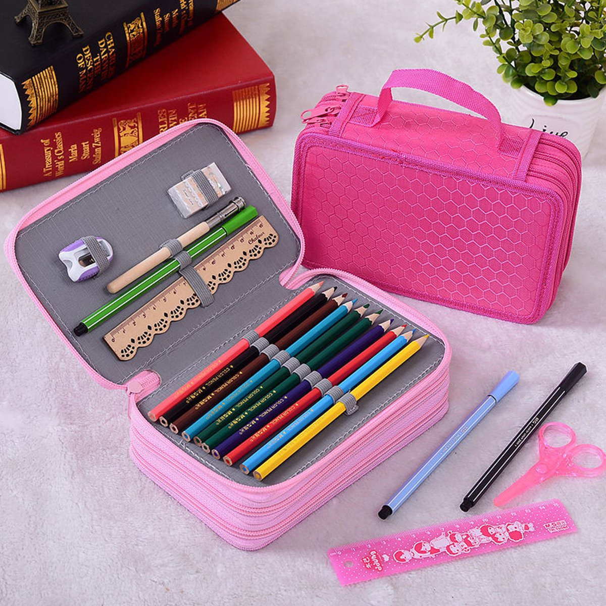 Colors portable drawing sketching pencils pen case holder bag for 72pcs pencils cheap newchic