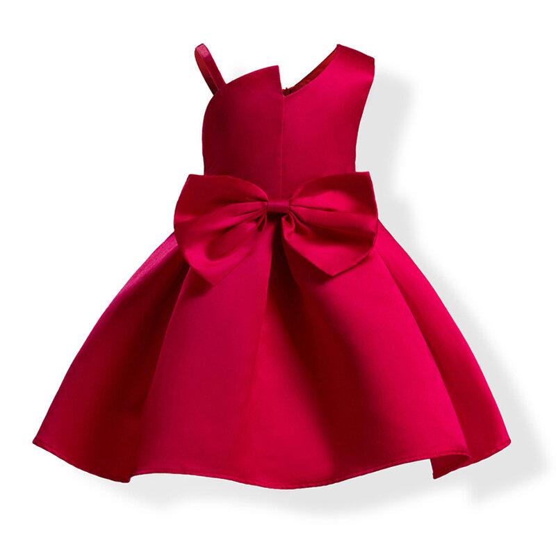 Fiesta para niñas pequeñas sin mangas Bowknot Formal Princess Vestido para 3Y-16Y