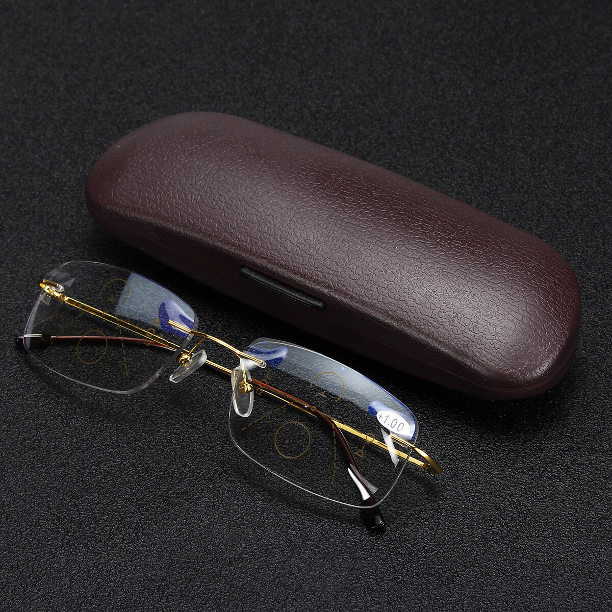 Half Metal Rim Multi Focus Progressive Reading Glasses Presbyopia Glasses Eye Health Care