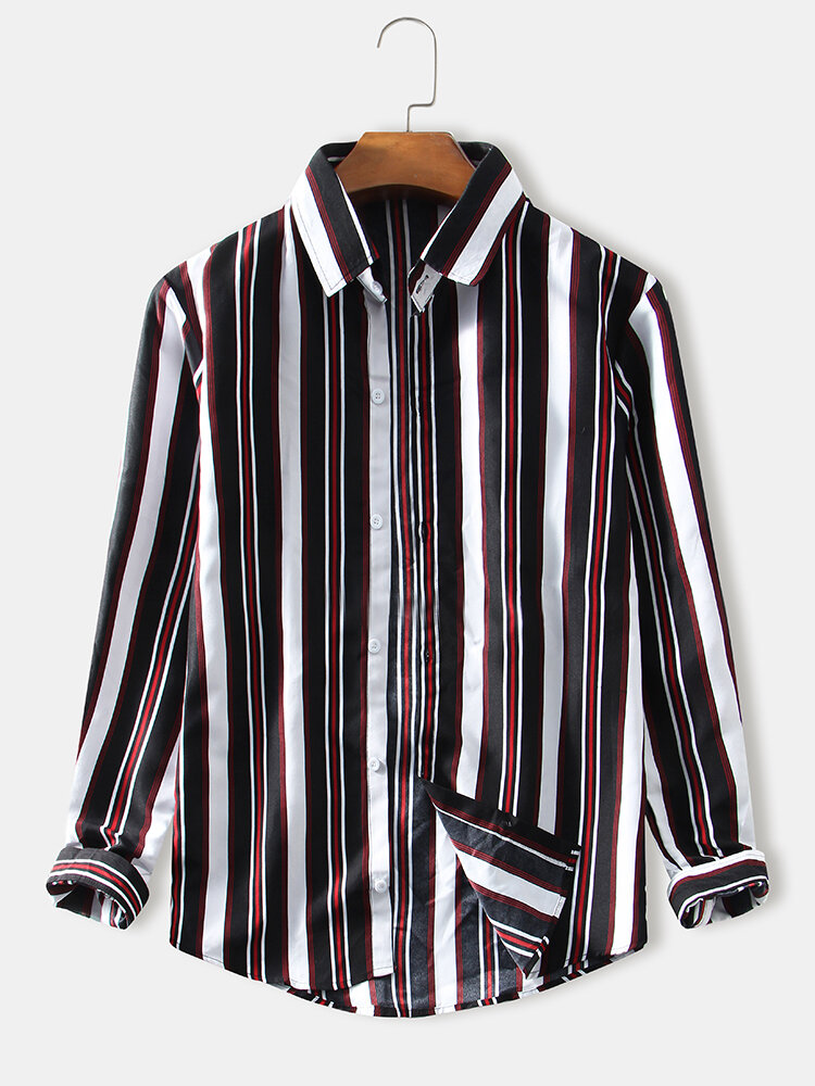 Mens Simple Striped Casual Thin Regular Fit Lapel Long Sleeve Shirts