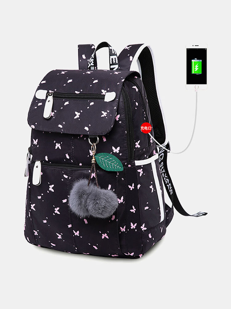 Women USB Charging Printed 15.6 Inch Laptop Pocket Fluffy Ball Large-capacity Backpack
