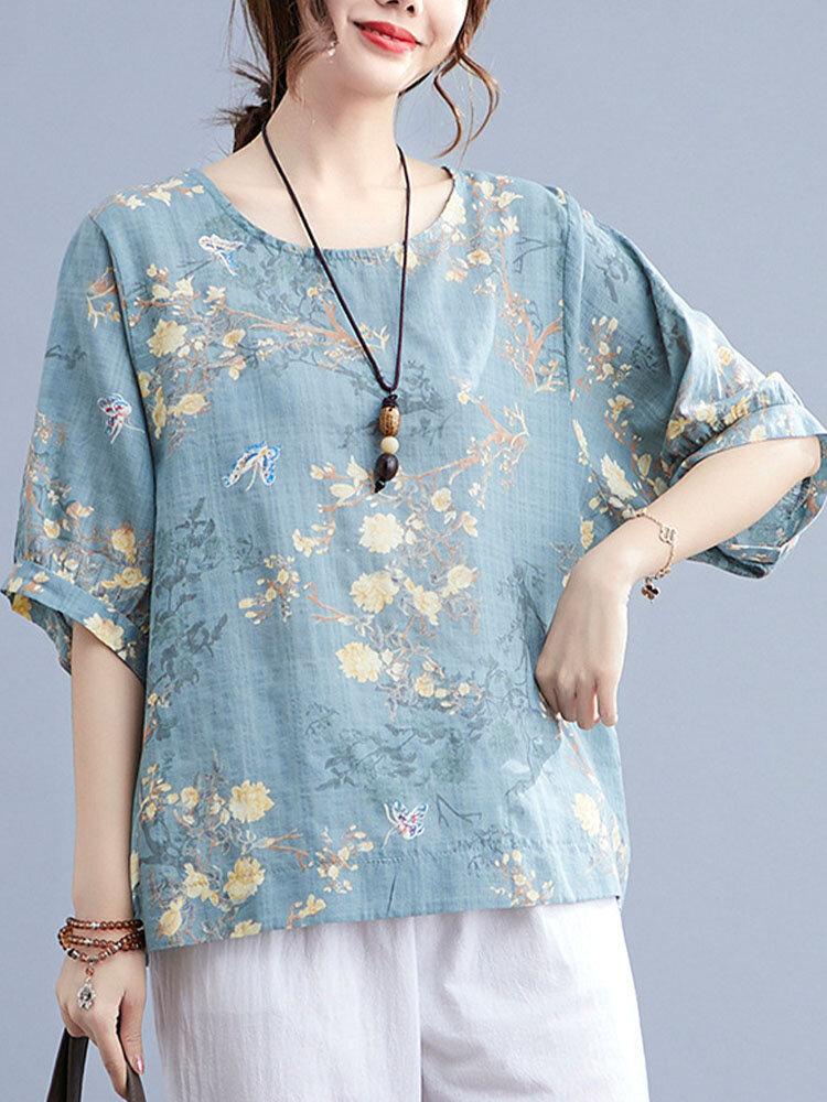 Butterfly Flower Print Plus Size Cotton Linen T-shirt