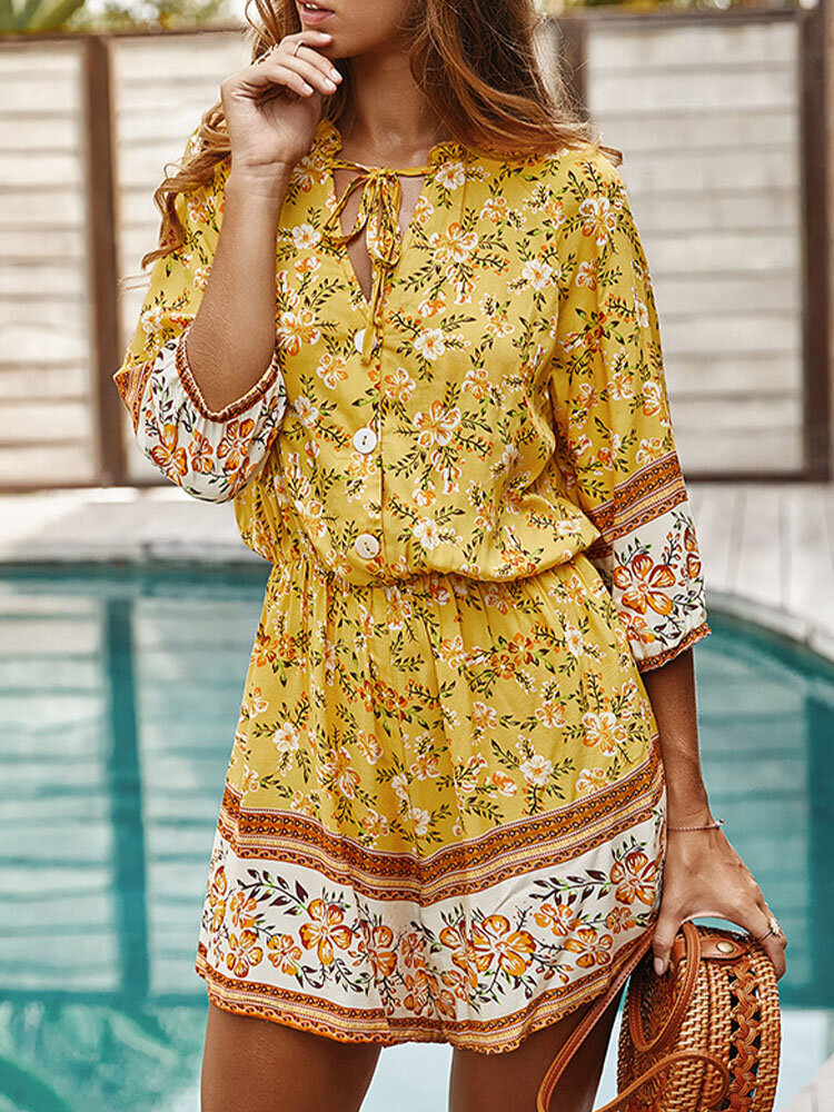 Floral Bohemian Print Tie-up Neck Button Front Holiday Romper
