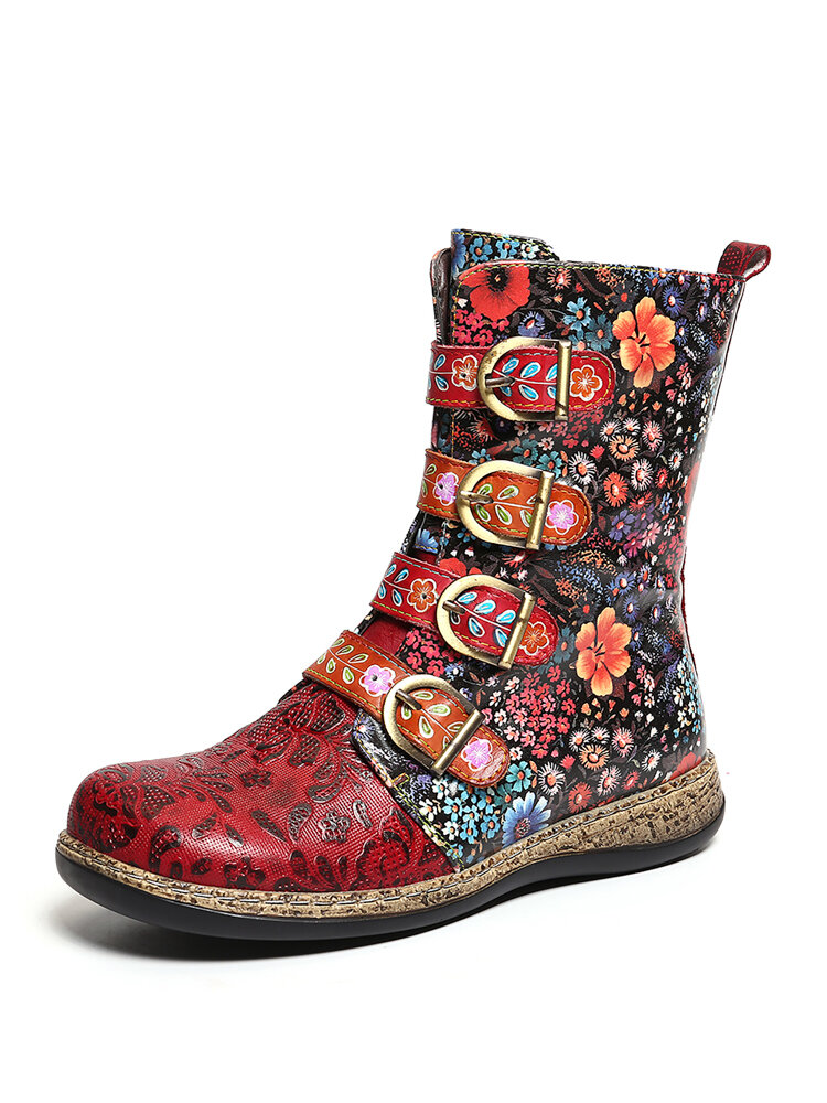 SOCOFY Womens Retro Small Flowers Metal Buckle Zipper Flat Short Boots