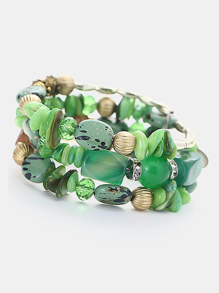 Bohemian Gravel Multi Layer Bracelet Turquoise Bracelet For Women Wrap Bracelet