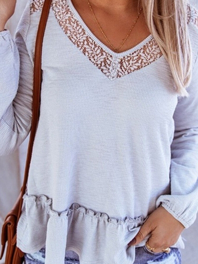 Lace Patchwork Long Sleeve V-neck Casual Blouse For Women