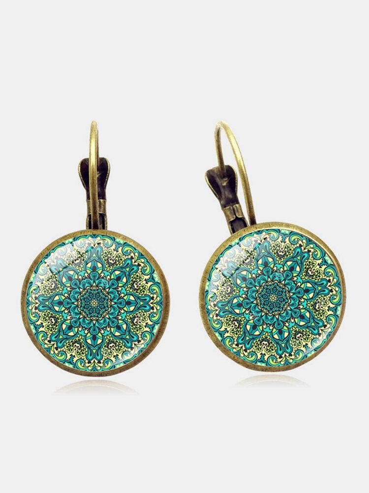 Vintage fleur motif temps Gem Cabochon boucles d'oreilles bohème Bronze boucles d'oreilles cadeau pour les femmes