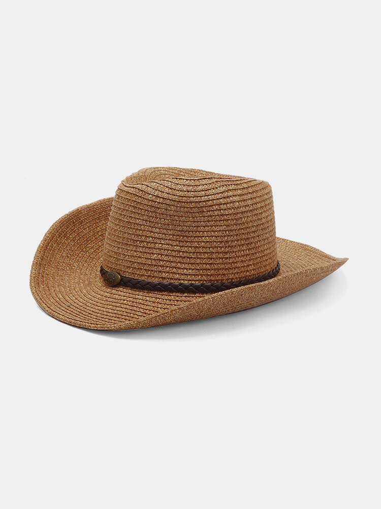 Men Wide Brim Foldable Lightweight Windproof Sunshade Breathable Leisure Straw Hat
