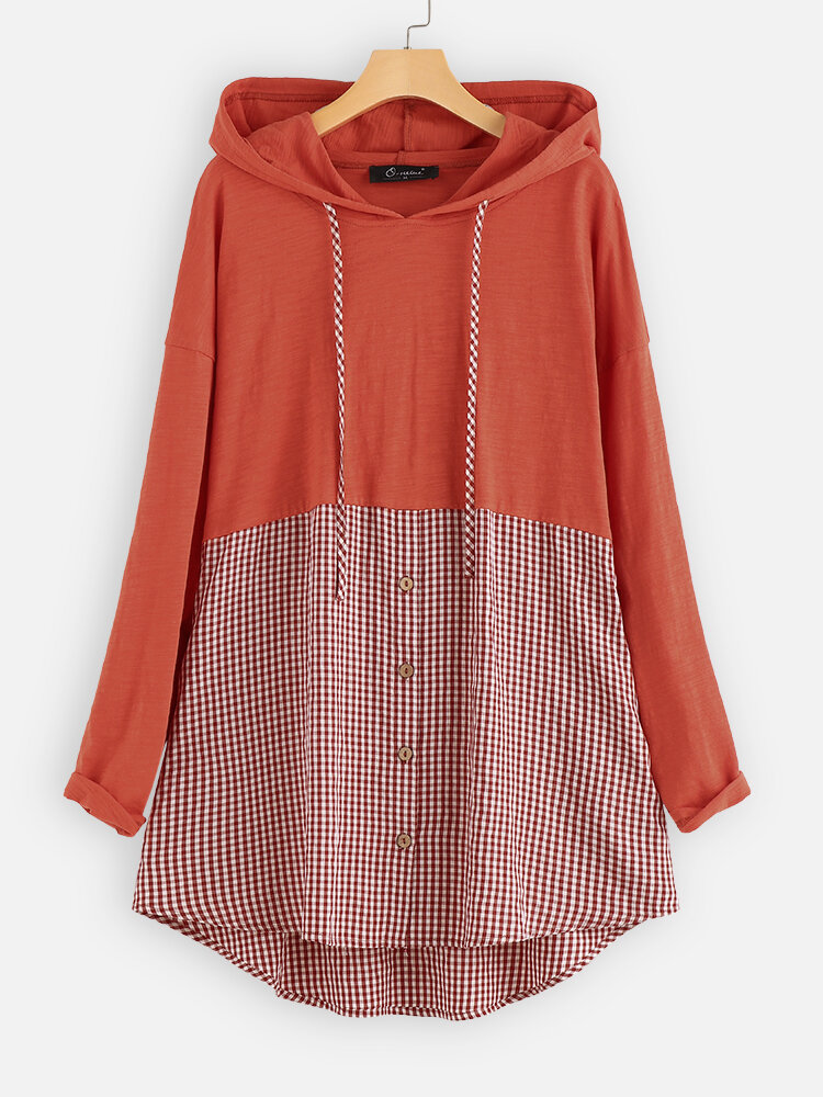 Patchwork Plaid Hooded Plus Size Blouse with Pockets