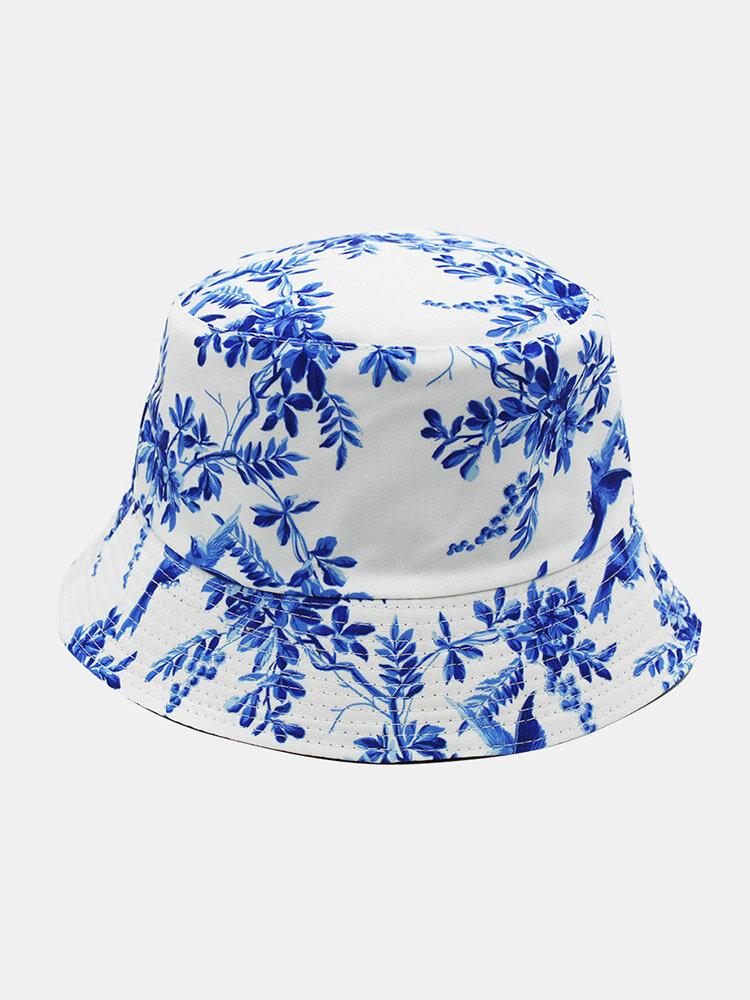 Unisex Cotton Overlay Plant Bird Print Double-sided Wearable All-match Sunshade Bucket Hat