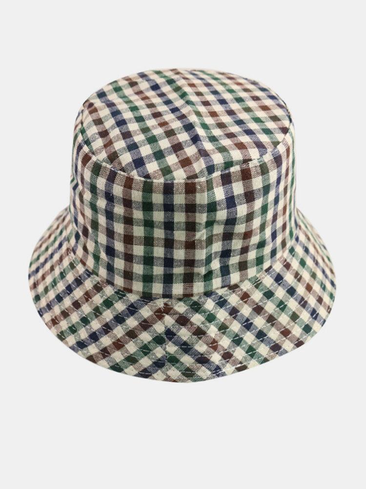महिला और पुरुष प्लेड पैटर्न आउटडोर आकस्मिक सनशेड बाल्टी टोपी