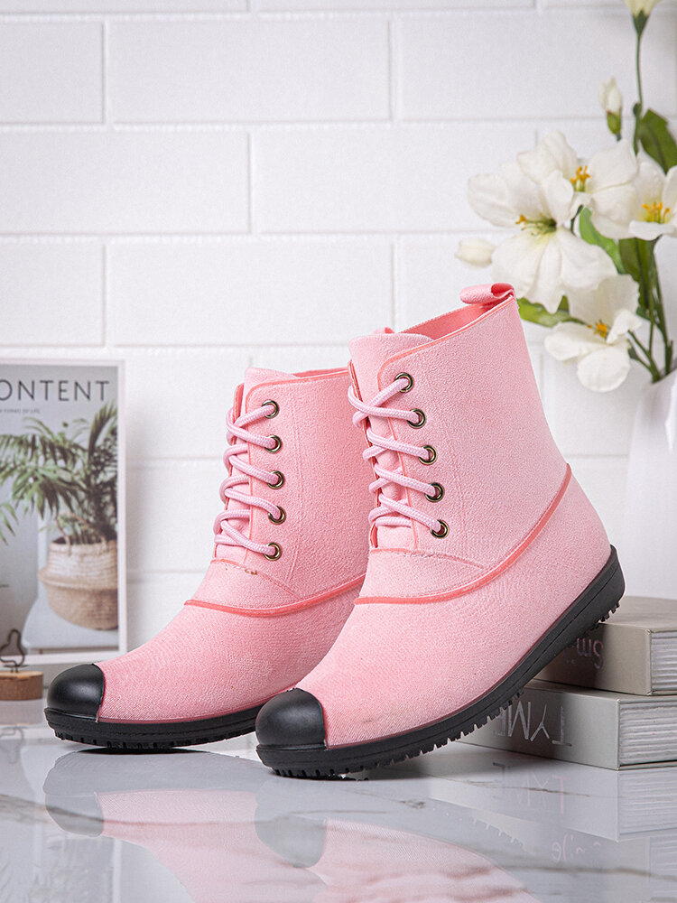 Women Soft Comfy Lace-up Water Proof Slip Resistant Rain Boots