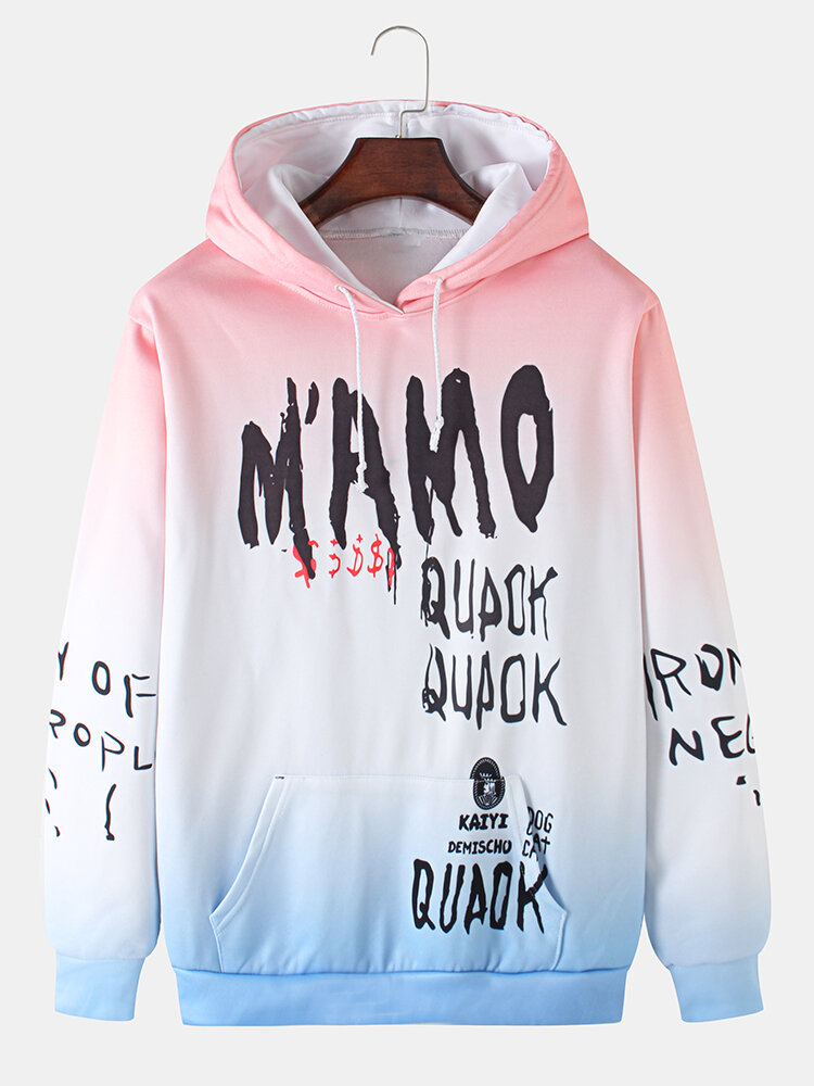 Mens Ombre Letter Print Daily Loose Hoodies With Kangaroo Pocket