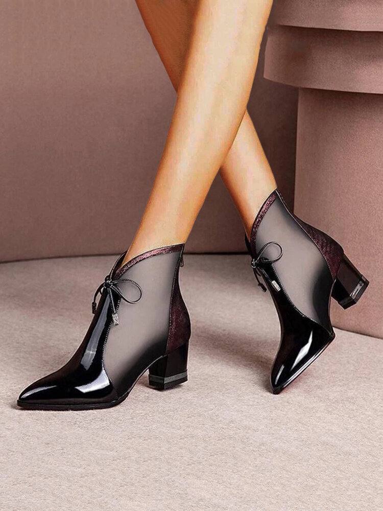Women Pointed Toe Breathable Mesh Casual Chunky Heel Summer Boots