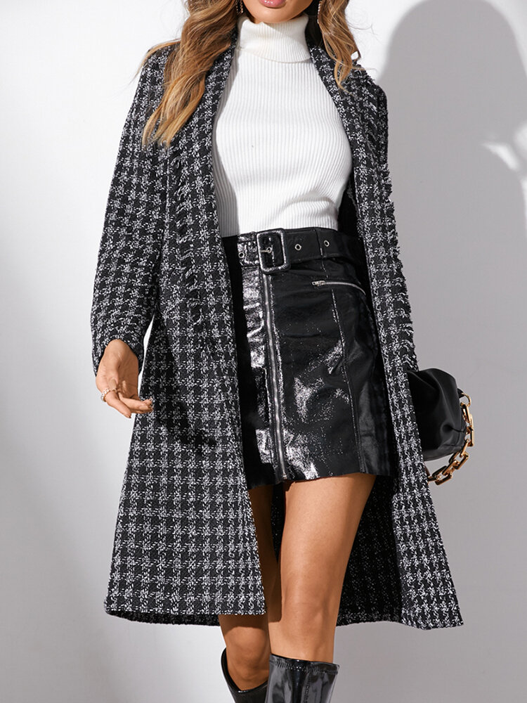 Women Plaid Print Lapel Collar Long Sleeve Casual Coat