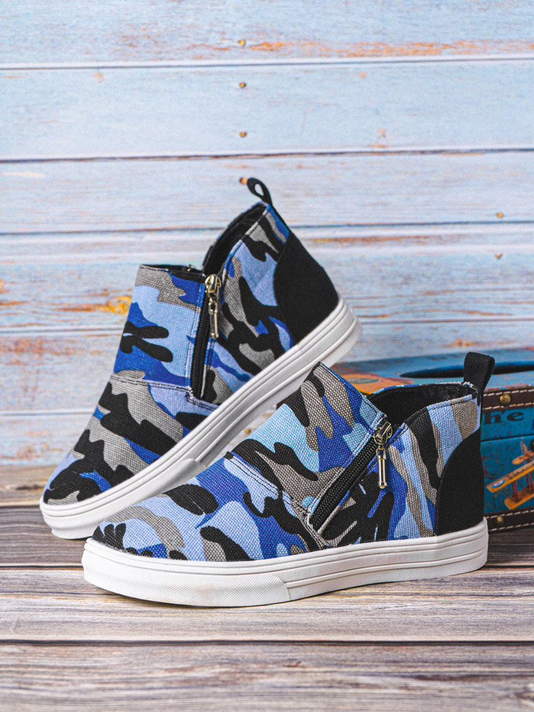 Women Large Size Comfy Slip Resistant Side Zipper Flat Camouflage Ankle Boots