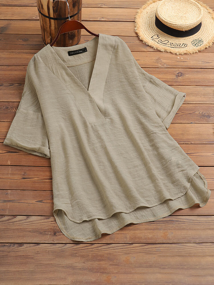 Blusa de media manga con cuello en V liso vendimia para Mujer