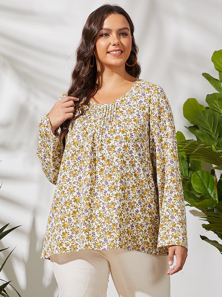 Flores estampado manga comprida pregueada O-pescoço casual Plus tamanho camiseta para mulheres