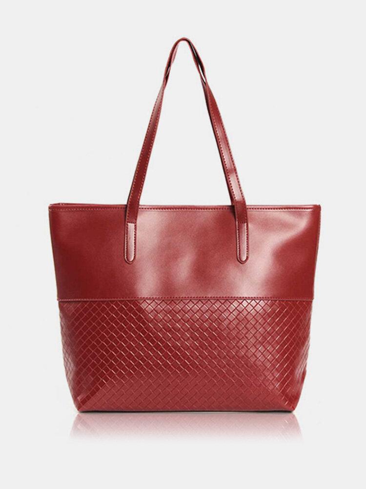 Women Elegant Large Capacity Grid Handbag Ladies Casual Zipper Shoulder Bag