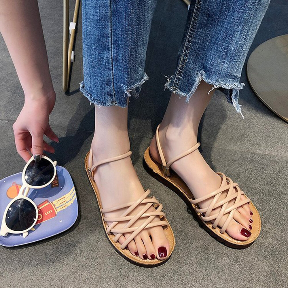 Cross Strap Two Ways Wearing Slip On Casual Flat Beach Summer Sandals