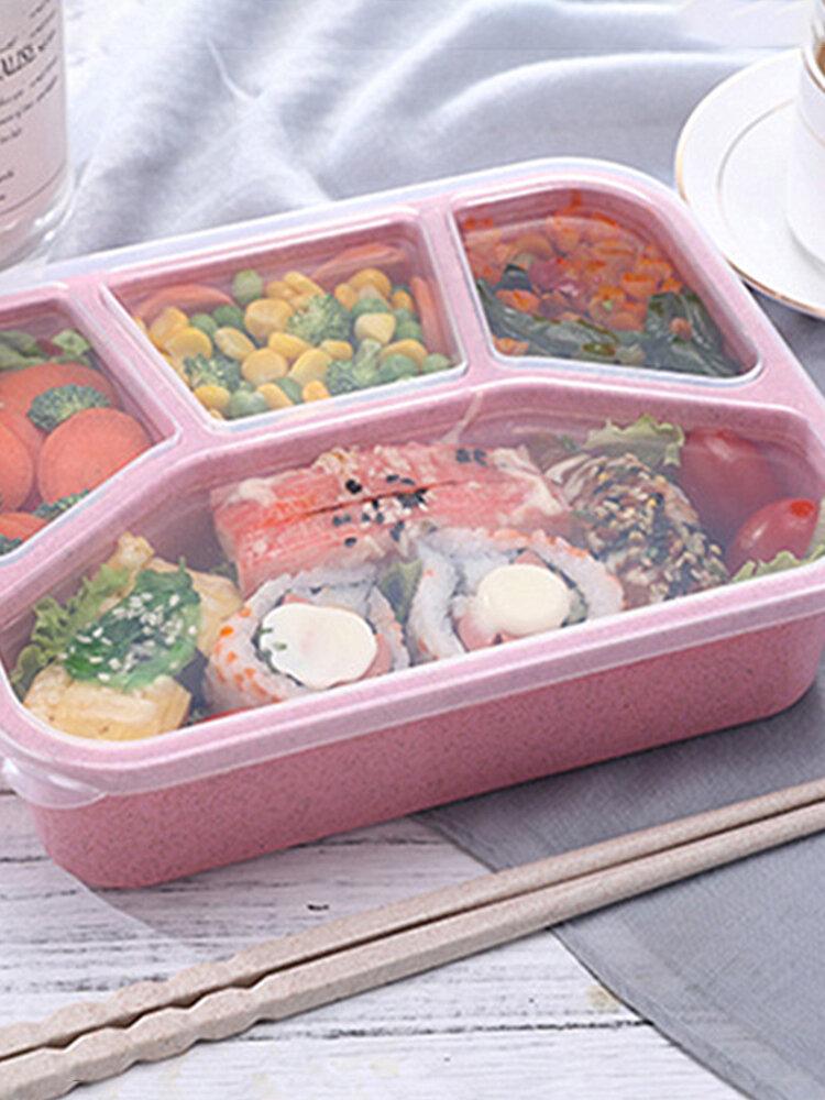 صندوق غداء صحي بينتو قابل للضبط في الميكروويف مع مقصورات لتخزين طعام قش القمح خالية من BPA