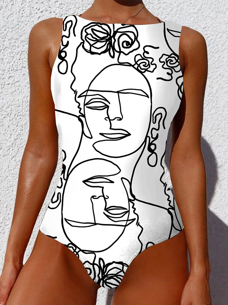Women Personalized Abstract Print One Piece High Neck Sleeveless Slimming Swimsuit