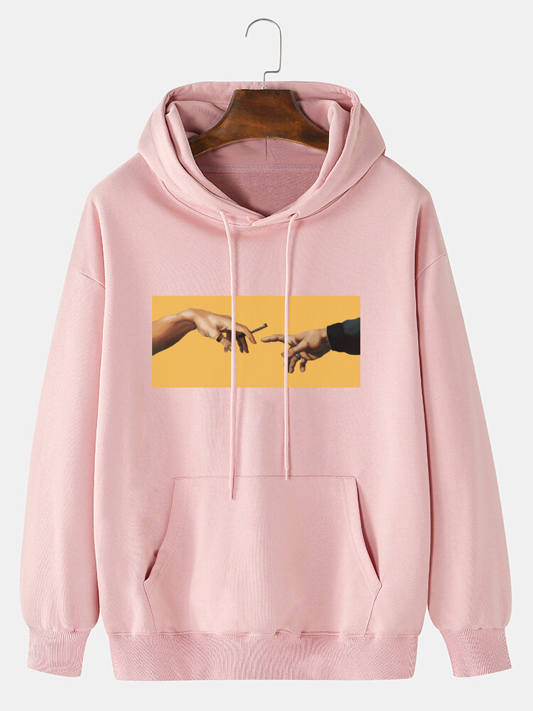 Mens 100% Cotton Touch Hands Graphic Print Plain Drawstring Hoodie