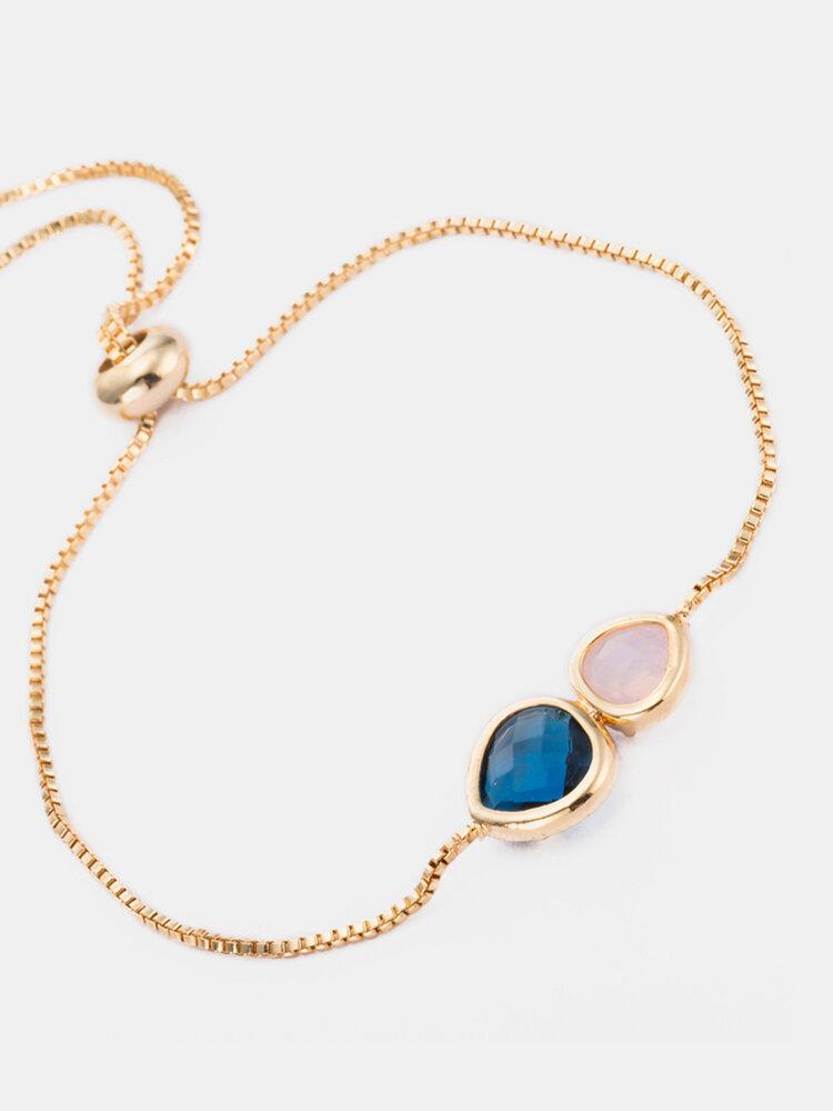 Simple Style Bracelet Water Drop Shape Inlay Double Crystal Glass Bracelet